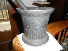 Cast Iron Mortar Pestle Set Ornate Old Antique Pharmacy Drug Compound | eBay
