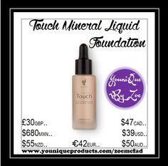 Touch Mineral Liquid Foundation Off to a smooth start with this ultra-thin, skin-perfecting liquid formula.