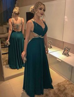 A-Line/Princess Sleeveless V-neck Floor-Length Beading Chiffon Dresses - Prom Dresses 2019 - Prom Dresses - Hebeos Online Grad Dresses, Homecoming Dresses, Sexy Dresses, Beautiful Dresses, Chiffon Dresses, Wedding Dresses, Bridesmaid Gowns, Gown Wedding, Fall Dresses