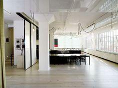 Apartments:Glass Window White Laminate Flooring Black Chairs Open Floor Design for Loft Apartment