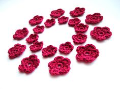 Crochet Flower, Bordo Red Wine,  Appliques