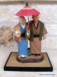 Vintage Urasaki Hakata Doll Old Couple Walking Holding A Parasol Figurine $85