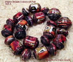 Paper Beads Colors Of Fall Set A  by PassionForPaperBeads on Etsy I just love these colors! Bead sheets and tutorials coming summer of 2013.