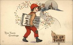 New Year Girl w News Paper Comic Postcard Vintage Christmas Cards, Christmas Gift Tags, Vintage Holiday, Vintage Cards, Vintage Postcards, Vintage Images, Hand Made Greeting Cards, New Year Greeting Cards, New Year Greetings