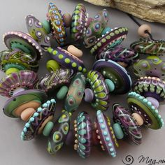 Magma Beads ~Green & purple Disks~ Handmade Lampwork Beads. in Jewelry & Watches, Loose Beads, Lampwork | eBay