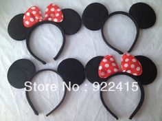 wholesale Lovely Minnie ears Hair accessories , girl Hard hair bands for Mickey mouse birthday party,mickey mouse headband(China (Mainland))