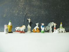 Vintage Cake Toppers Circus Animals Japan Miniature by PassedBy, $54.00