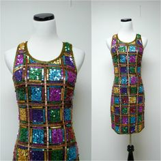 Laurence Kazar . 80s 90s multi-colored beaded sleeveless silk dress . small by june22 on Etsy