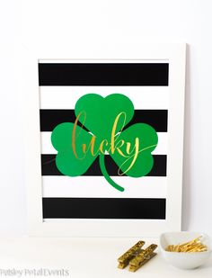 st patrick's day art print - black and white