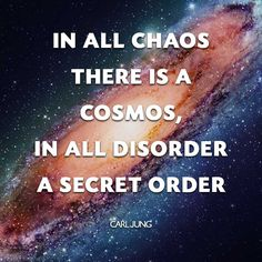 • In all chaos there is a cosmos, in all disorder a secret order • Carl Jung • Quotes • Andromeda Galaxy •