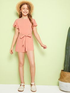 Girls Zip Back Flutter Sleeve Belted Romper – kidenhome Rompers For Teens, Jumpsuits For Girls, Cute Rompers, Girls Rompers, Preteen Girls Fashion, Girls Fashion Clothes, Kids Outfits Girls, Kids Fashion, Cute Lazy Outfits