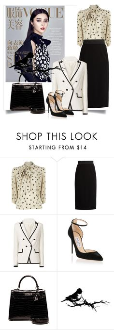 """""""Polka Blouse"""" by danewhite ❤ liked on Polyvore featuring Dolce&Gabbana, Veronica Beard, Jimmy Choo, Hermès and Tim Holtz"""
