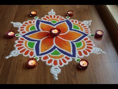Simple and Attractive freehand flower rangoli designs with colours by Shital Daga. Easy Rangoli Designs Diwali, Rangoli Designs Latest, Simple Rangoli Designs Images, Rangoli Designs Flower, Free Hand Rangoli Design, Small Rangoli Design, Rangoli Border Designs, Rangoli Ideas, Rangoli Designs With Dots