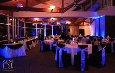 A fascinating contrast of blue and the natural wood colour of Lily's on the Lagoon at Novotel Twin Waters. Lighting by G&M DJs   Magnifique Weddings #gmdjs #magnifiqueweddings #magdream #moodlighting @gmdjs