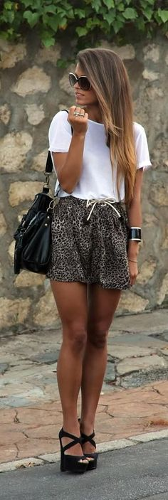 White Top with Animal Print Short | Chic Summer Ou...