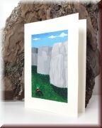 Das Gemälde zeigt die Ruinen von Sacsayhuaman in Cusco in den peruanischen Anden.  Die Größenverhältnisse zwischen den Steinen und der abgebildeten Person zeigt deutlich welche Käfte die Inka aufwenden mussten um die gigantischen Brocken in der Bergwelt der Anden an ihren Platz zu setzen. Der Nachfahre der Inka welcher zum Fuße der Felsen sitzt spielt gerade die Flöte.