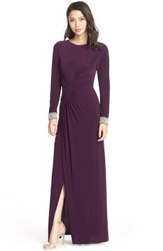 Vince Camuto Beaded Cuff Ruched Jersey Gown available at #Nordstrom