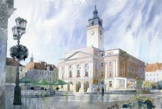 Gorska Rudera (Grzegorz Wróbel) GreeGW – Kalisz ratusz – watercolor