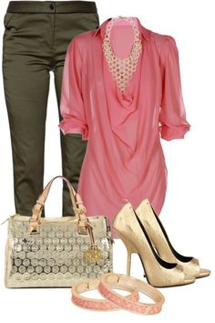 """*PROFESSIONAL OUTFIT* TOBACCO D&B BAG - Olive Green Skirt, Cream Jacket, Baby Pink Blouse, Gold Belt, Cream & Gold 5"""" Heel Shoes, Taupe Stocking."""
