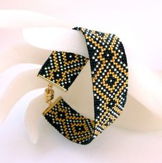 Diamond Gold Royale Bead Loom Bracelet | My own design loome… | Flickr