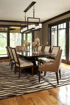 5 Rooms Featuring a Zebra Print Rug Dining room design, Dark wood trim, Living room paint Tan Walls, Brown Walls, Neutral Walls, Living Room Remodel, Living Room Paint, Kitchen Remodel, Dark Wood Trim, Room Paint Colors, Dining Room Design