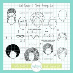 -Stamp set includes 24 stamps -Set measures approximately 4 x 6 inches -Bald girl measures approximately x inches -Curly girl measures approximately x inches -Designed by Korin Sutherland -Made in the USA! Drawing Tips, Drawing Reference, Drawing Hair, Drawing Stuff, Figure Drawing, Cartoon Drawings, My Drawings, Cartoon Art, Scripture Art
