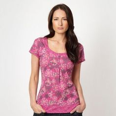 Dark pink floral printed t-shirt at debenhams.com