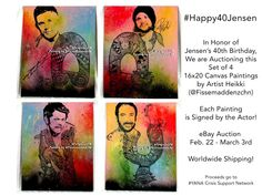 Supernatural Merchandise, Happy 40th, March 3rd, 40th Birthday, Auction, Jensen Ackles, Canvas, Artist, Painting