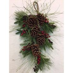 The Holiday Aisle Winter Tear Drop Swag with Large Pine Cones and Berries