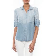 Bella Dahl Ombre Split Back Button Down featuring polyvore, fashion, clothing, tops, button up shirts, button-down shirts, sleeve shirt, long sleeve button up shirts and men shirts
