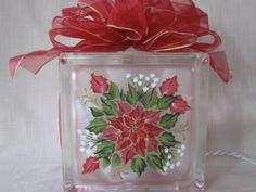 Poinsettia Glass Block 6 X 6-lighted glass block, lighted block, glass blocks, hand painted glass block