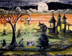 """""""Spells of a Witch""""   All of our Witch Art and Halloween Art is for sale on Ebay or Etsy under screen name Sunbyrum. Copyright © 1999-2011 Byrum Collectibles All rights reserved. All of our designs, artistry, and photos are protected by copyright."""