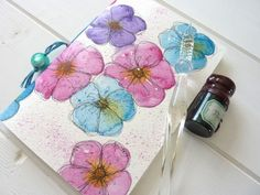 Flowered Journal note or pocket book with lined by shelikesthis, £7.50