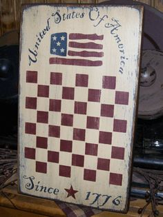 UNITED STATES OF AMERICA  1776  GAME BOARD PRIMITIVE SIGN SIGNS