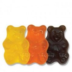 Assorted Fruit flavored Gummi Bears in Black (Black Cherry), Orange (Orange) and Yellow (Lemon)! Gummi Bears have a soft texture, intense Flavor, are gluten free, fat free and bursting with flavor. Perfect treat for your Halloween Party!