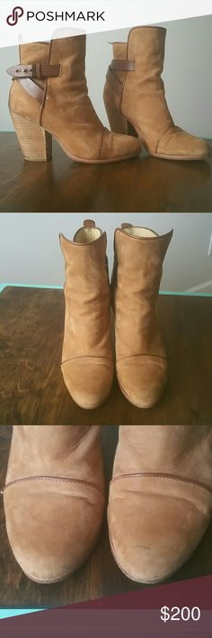 Rag & Bone Kinsey Boots Style: Kinsey Size 8/38  Tan and brown Definitely loved but have a lot of life left!! *scuffed in areas, worn alot!! Love these but just bought a new pair.. wear is reflected in price!! Any questions or wanna see more pics just let me know :) rag & bone Shoes Ankle Boots & Booties
