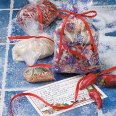 Red Beans and Rice Mix Recipe -Since there's food galore during the holidays themselves, I like giving this zippy mix as an after-Christmas present instead. I just slip the containers of seasoning, beans and rice into a decorative paper bag. A recipe card completes the package.