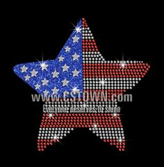 A Star of American Style Iron on Rhinestone Transfer