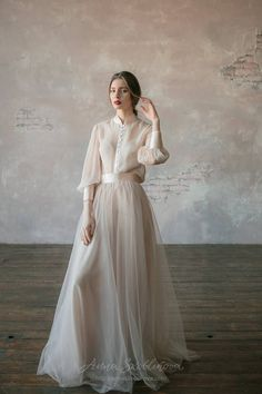 Vintage wedding dress from natural silk and blush tulle skirt. Victorian wedding… Vintage wedding dress from natural silk and blush tulle skirt. Wedding Dress Silk, Wedding Dress Winter, Top Wedding Dresses, Custom Wedding Dress, Wedding Dress Trends, Designer Wedding Dresses, Bridal Dresses, Wedding Gowns, Summer Wedding