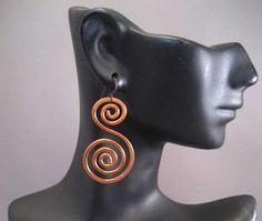 Filo di rame appiattito scorrimento orecchini di WireArte su Etsy