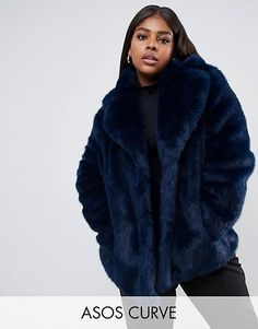 da00a65e175 ASOS DESIGN Curve faux fur coat with collar detail Plus Size Outerwear