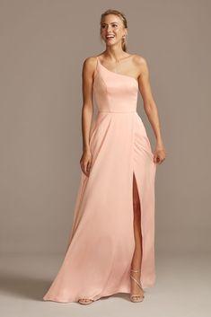 Crepe-Back Satin One-Shoulder Bridesmaid Dress Light Pink Bridesmaid Dresses, Blush Pink Bridesmaids, One Shoulder Bridesmaid Dresses, Blush Dresses, Wedding Bridesmaid Dresses, Maid Of Honour Dresses, Sexy Skirt, Lip Gloss, Bobby Pins