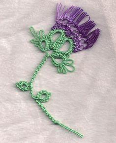 Thistle Burns Night - with tatted thistle pattern Crochet Motif, Crochet Flowers, Crochet Patterns, Tatting Jewelry, Tatting Lace, Needle Tatting Tutorial, Tutorial Crochet, Shuttle Tatting Patterns, Crochet Bookmarks