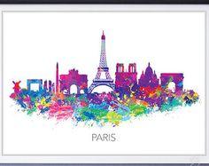 Nueva York Skyline acuarela arte cartel imprimir por GenefyPrints