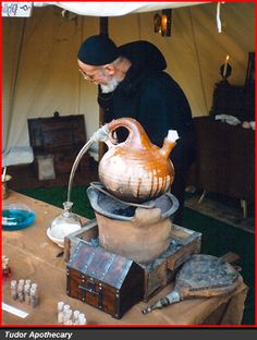 medieval dyeing at apothecary display