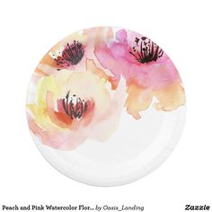 """Peach and Pink Watercolor Floral Paper Plate - Beautiful watercolor roses in bright shades of pink and peach with a touch of yellow make an excellent choice for spring, summer or fall weddings. It's also a nice choice for birthday parties, luncheons and special events. You can add text to this design if you wish by choosing the """"customize it"""" button. Sold at Oasis_Landing on Zazzle."""