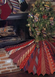 Necktie tree skirt from Daddys Ties by Shirley Botsford Unexpected Christmas Tree Skirts