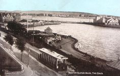 Weston-super-Mare Madeira Cove with tram. Weston Super Mare, Public Transport, Old Photos, England, Buses, Photograph, Printable, Running, Wood