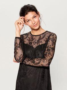 Koronkowa sukienka z długimi rękawami - czarny - UN938-99X - Mohito - 1 Cold Shoulder Dress, Lady, Dresses, Fashion, Vestidos, Moda, Fashion Styles, Dress, Fashion Illustrations