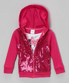 Another great find on #zulily! Pink Minnie Sequin Zip-Up Hoodie - Toddler & Girls #zulilyfinds